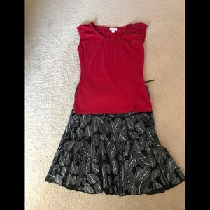 Red top and black n white skirt